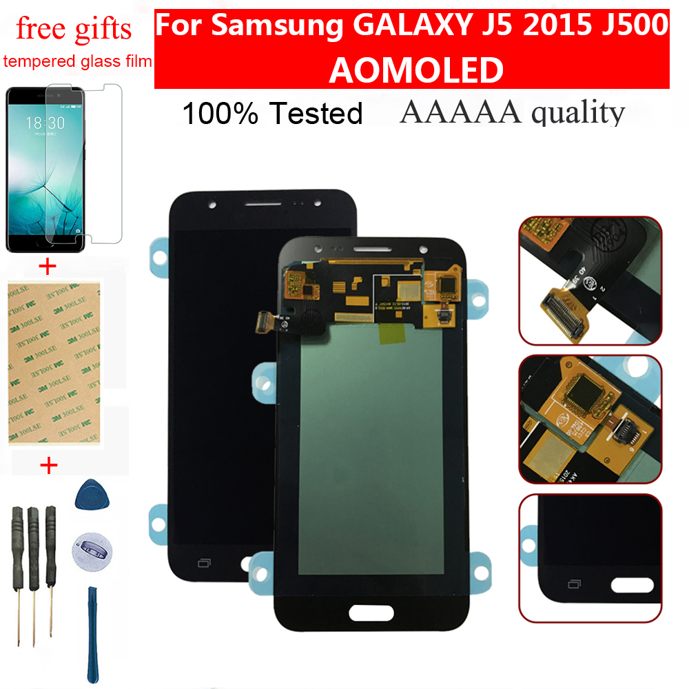 <font><b>AMOLED</b></font> For Samsung GALAXY J5 2015 LCD <font><b>J500</b></font> J500F J500FN J500H J500G LCD Display Monitor Panel +Touch Screen Digitizer Assembly image