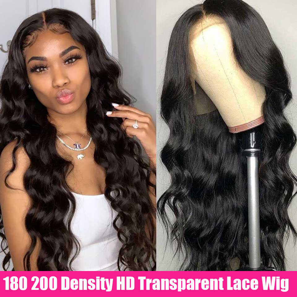 Cheap HD Transparent Lace Frontal Wigs Body Wave Wig 180 200 Density 26 Inch Wavy Lace Front Human Hair Wigs Remy Brazilian Wig