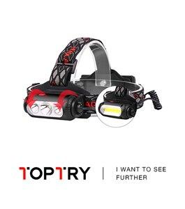 Farol t6 + cob recarregável por usb, lanterna de cabeça com 7 modos de luz, lanterna de led 2019, bateria, novo, 18650 na testa
