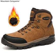 Mountain Conqueror Brand Men Winter Snow Boots Warm Plush High Quality Waterproof Sneakers Outdoor Male Hiking Work Shoes