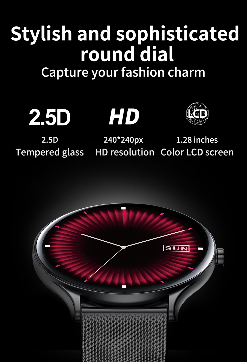 Ha6e23cbc6d424091b044631c5fafe796D 2021 New Full circle touch screen Women smart watch Luxury steel Watch Band Fashion smartwatch Sport Activity tracker For Xiaomi