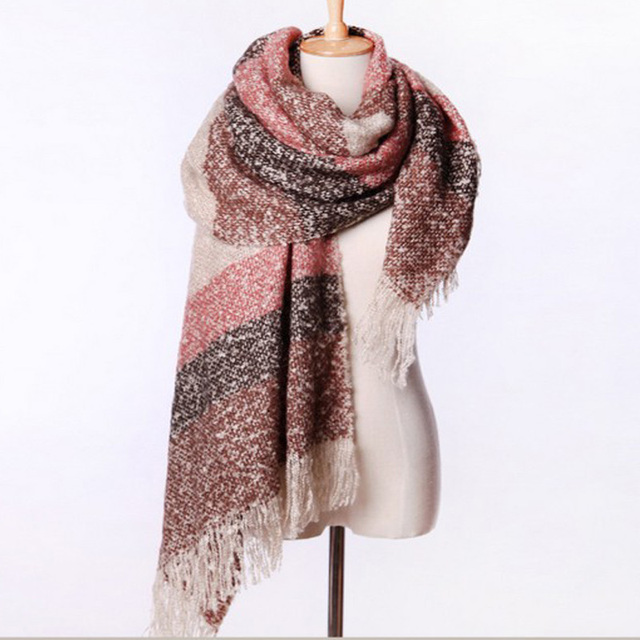 2020 Women Fall Winter Mohair Cashmere Like Scarf Long Size Warm Fashion Scarves & Wraps For Lady Casual Patchwork Accessories 4