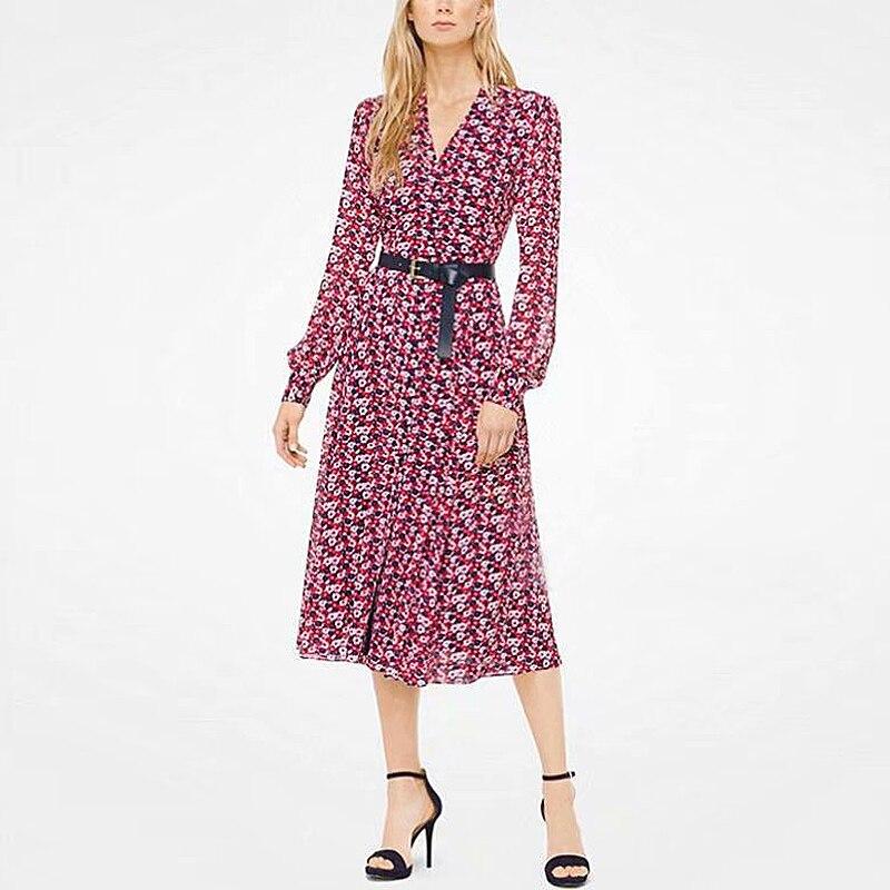 Kate Middleton High Quality Autumn New Women'S Fashion Party Workplace Sexy V-neck Vintage Elegant Chic Floral Print Midi Dress