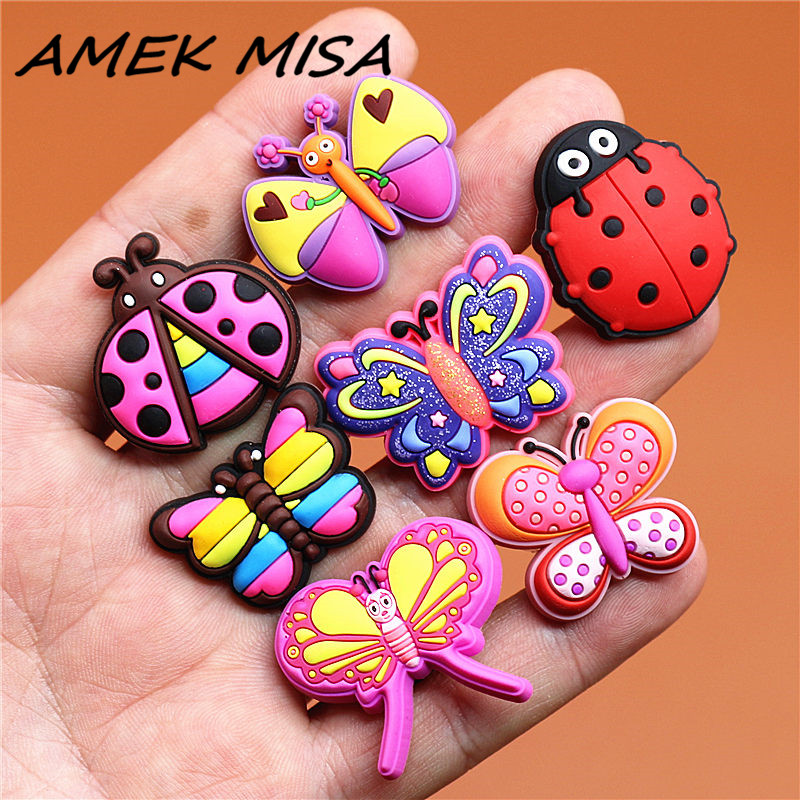 Single Sale 1pcs Shoe Charm Decorations Exquisite Butterfly Shoe Accessories Original Sandal Buckles Fit Bracelet Croc JIBZ U49