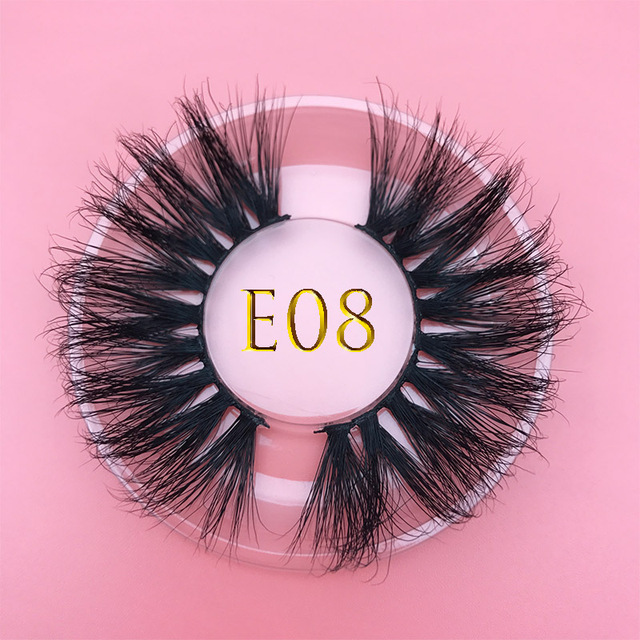 25mm E06 MIKIWI 100% handmade natural  thick  Eye lashes wispy makeup extention tools 3D mink hair volume soft false  eyelashes 4