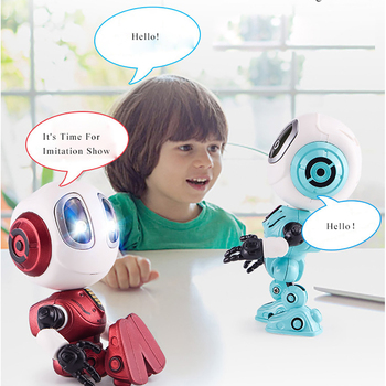 Smart Touch Sensing Talking Robot Toy Head Touch-Sensitive LED Lights Alloy Robot Toys For Kids Gift Red Green Blue Boy Toys