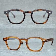 Okrągłe, ręcznie robione, octan ramki kobiety Johnny Depp okulary mężczyźni marka projektant komputer gogle optyczne ramka do okularów Demi krótkowzroczność