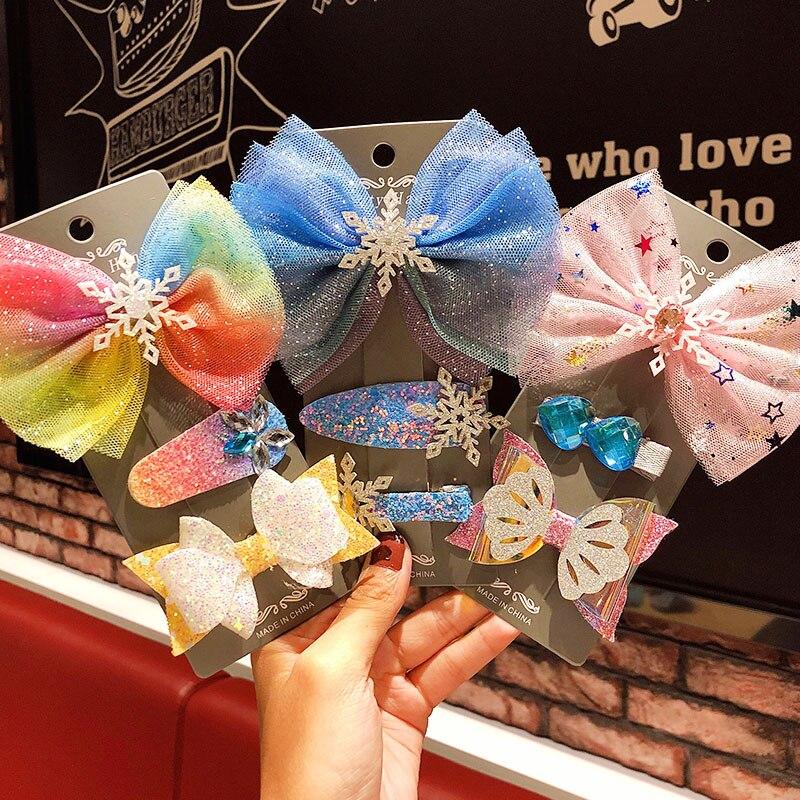 3pcs/set New Snowflake Chiffon Bow Hairpins Girls Cute Headband Hair Clip Children Sweet Barrettes Kids Fashion Hair Accessories