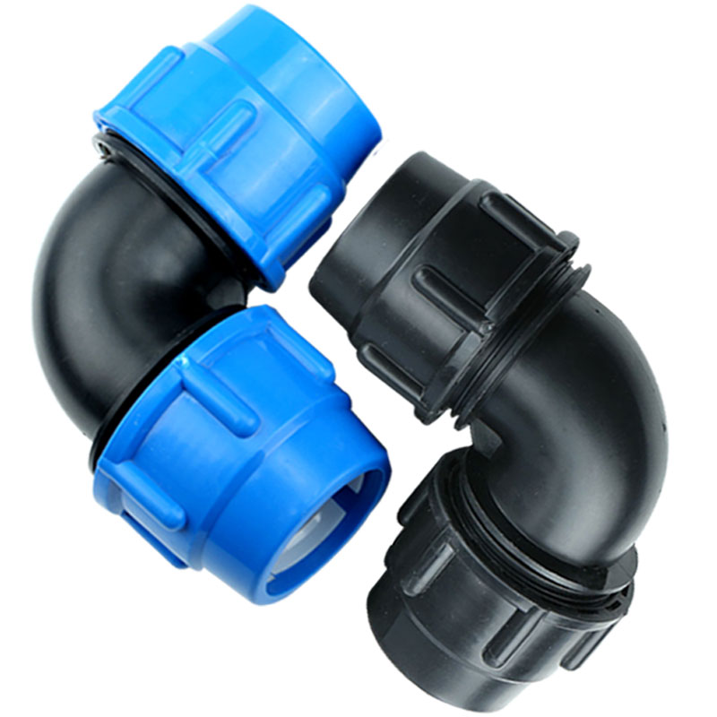 20mm Diameter Plastic Polypropylene Quick Connector Elbow Blue Black Caps Adapter PE Pipe Fittings For Irrigation