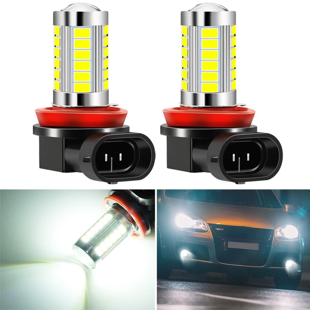 2 шт. H8 H11 Светодиодный ные автомобильные лампы Противотуманные фары для Ford Fiesta Focus 2 Ecosport Kuga Escape Сигнальная лампа      АлиЭкспресс