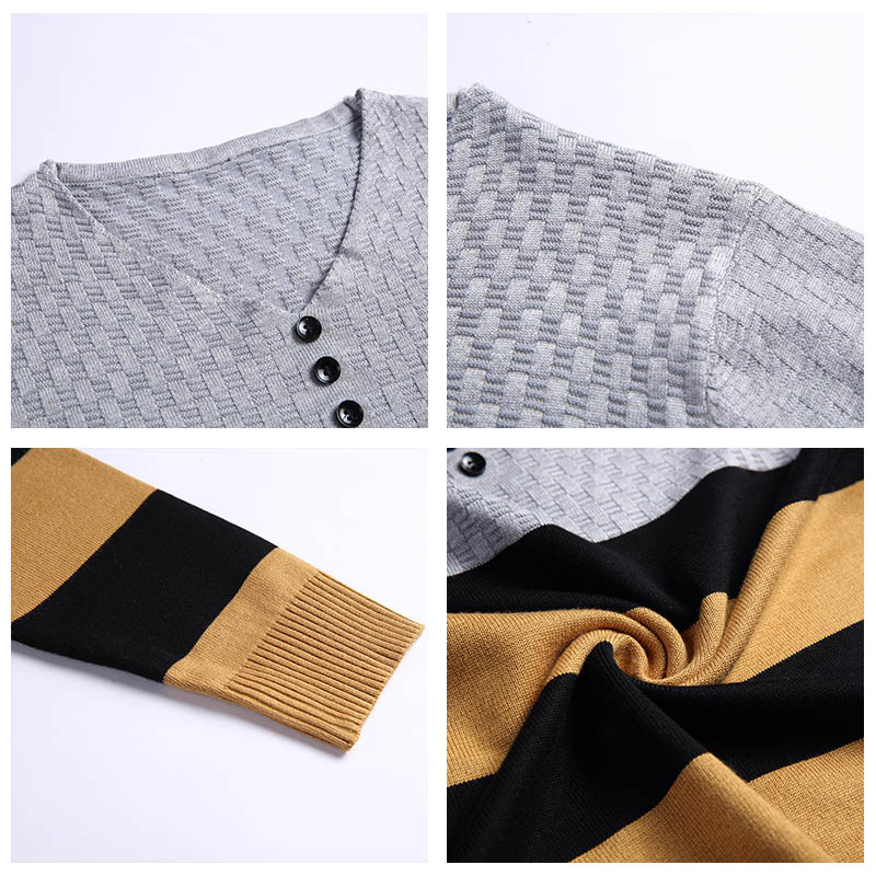 COODRONY Brand Sweater Men Casual Striped Button V-Neck Pull Homme Autumn Winter Cotton Pullover Men Jersey Knitwear Shirt C1008