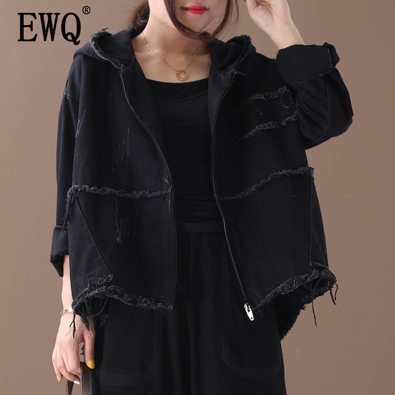 [EWQ] 2020 Autumn New Pattern Office Lady Style Large Size Solid Color Vintage Washed Hooded Collar Full Sleeve Denim Coat AF638