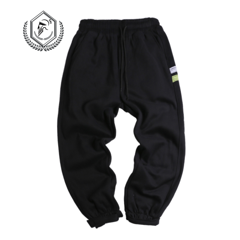 Men Loose Sport Pants Fleece Heavyweight Harem Jogger Pants Ankle-Length Hip Hop Pants
