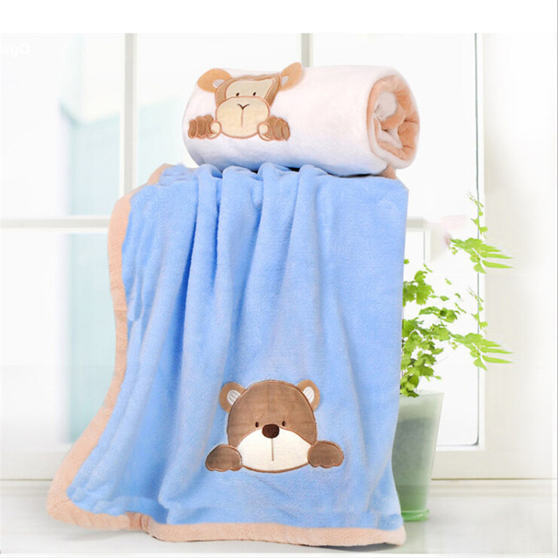 Super Soft Coral Fleece Baby Blanket Infant Crib Bedding Cartoon Monkey/Rabbit/Bear Blanket Newborn Gift For Boy Girl 100*80cm