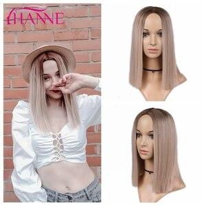 Image 3 - HANNE 합성 짧은 스트레이트 가발 흑인 또는 백인 여성을위한 옹 브르 브라운/금발/핑크 중간 부분 자연 머리카락