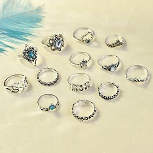 2020 New Fashion 13 Pcs/set Bohemian Retro Crystal Flower Leaves Hollow Lotus Gem Ring Set Women Wedding Anniversary Gift