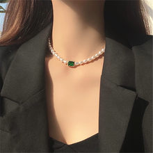 IOY IRENE Fashion Retro Geometry Square Green Glass Baroque Imitation Pearl Short Clavicle Necklace For Women Bride Jewelry 2355