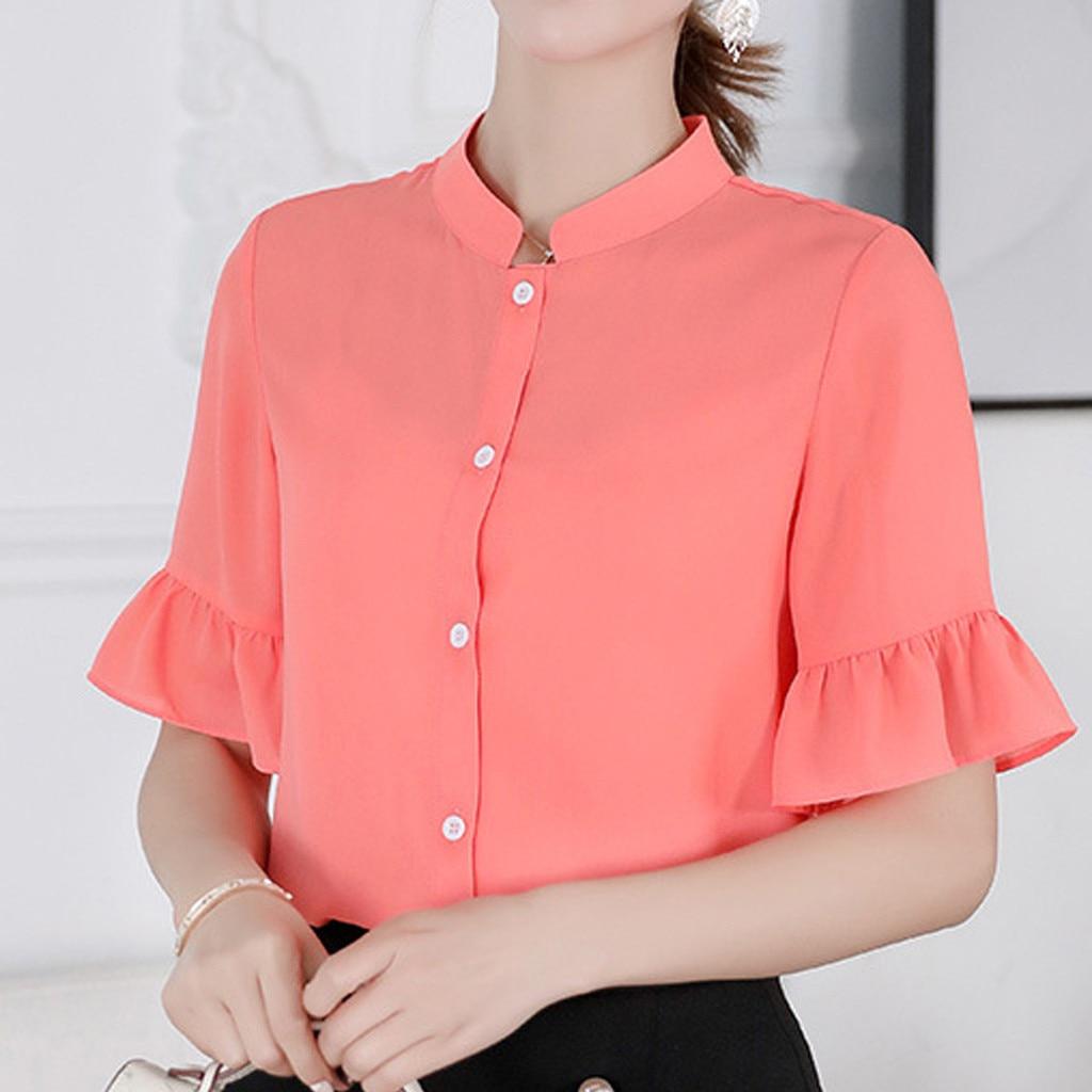 Women Summer Korean Shirt Fashion Casual Plus Size Chiffon Blouse Top Chiffon Blouse Chemisier Femme Nouvelle Collection