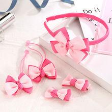 New 5Pcs/Set Baby Girls Kids Cotton Bowknot Headband Children Hair Band Headwear Cute Clip Barrette Hairpin Xmas Gift
