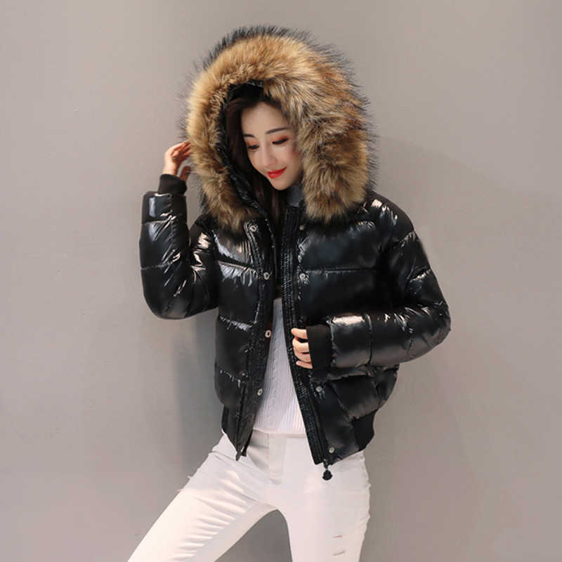 2019 winter new fashion bright coat cotton women's short female padded jacket thick fur collar cotton jacket women parka