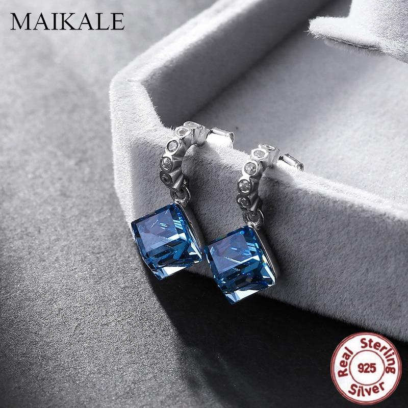 MAIKALE Luxury 925 Sterling Silver Stud Earrings for Women Square Blue Austrian Crystal Zirconia Earring Wedding Jewelry Gift