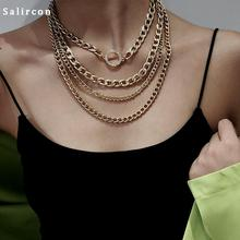 Salircon Vintage Classical Chain Necklace Chunky Curb Choker Gold Silver Alloy Geometric Multi Layer Neutral