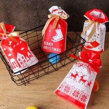 10pcs Merry Christmas Gift Bags Santa Claus Xmas Tree Packing Happy New Year 2019 Candy Navidad Decorations