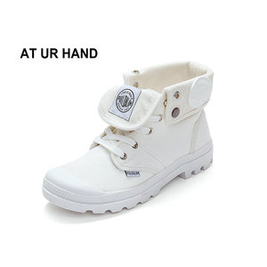 Image 1 - AT UR HAND 2019 Fashion Sneakers Female High Top Canvas Shoes Women Casual Shoes White Flat Female Lace Up Solid Trainers