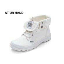 AT UR HAND 2019 modne trampki damskie wysokie buty płócienne damskie obuwie białe płaskie damskie zasznurowane solidne buty