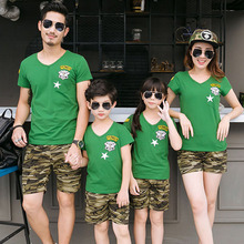 Plus Size Matching Family Clothing Summer Style Father Boy Mother Daughter Camouflage T-Shirts Short Pants Set Family Look summer family look clothes boy t shirts mother