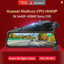 Junsun H15 Ultra HD 2K 2560*1440P Автомобильный видеорегистратор камера поток зеркало заднего вида 10 ''ips 1080P привод Видео Авто рекордер Регистратор