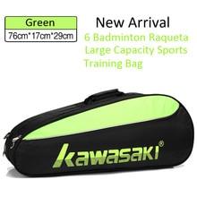 Kawasaki теннис бадминтон рюкзак для ракеток 6 бадминтон Raqueta большой емкости один Shouders диагональный крест портативная тренировочная сумка
