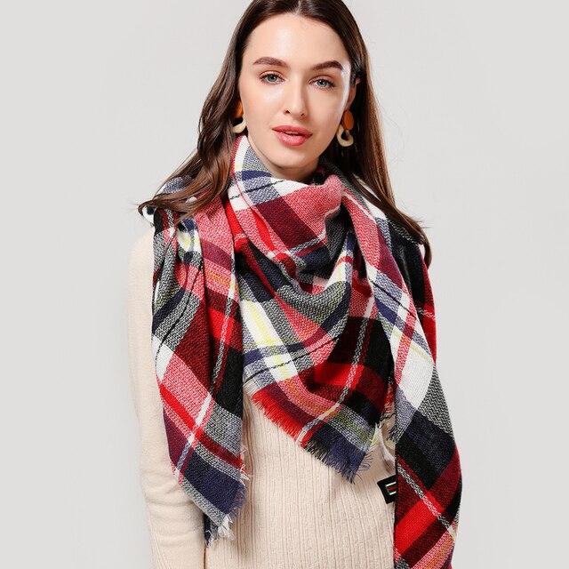 Designer knitted spring winter plaid warm cashmere shawls luxury scarf 2