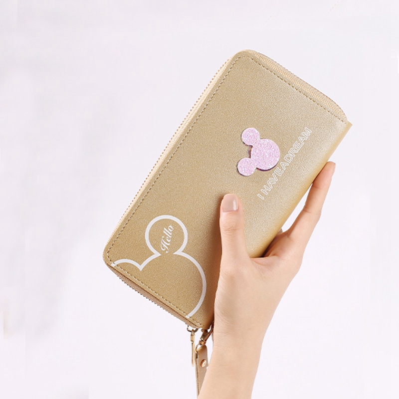 wristlet wallet women wallets long and short mickey clutch coin purse trendy lady zipper money bag pu leather purse card holder