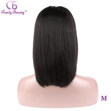 Beleza na moda frente do laço curto cabelo humano bob wigs13x4 pré arrancado brasileiro cabelo reto bob perucas para preto