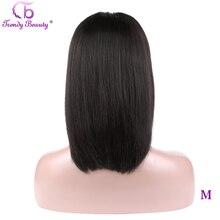 Modne piękne krótka, koronkowa peruka z ludzkich włosów Bob Wigs13x4 pre oskubane brazylijskie proste włosy Bob peruki dla czarnych kobiet Remy włosy