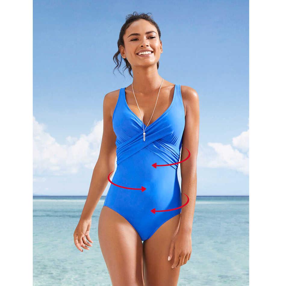 LI-FI الصلبة قطعة واحدة ملابس السباحة النساء Monokini لباس سباحة ريترو Vintage ثوب السباحة بحر سليم ملابس سباحة حريمي م ~ 2XL