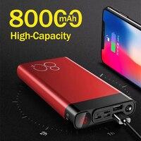 Banco de energía portátil de 80000mAh con luz LED, pantalla Digital HD, cargador de viaje, carga rápida, para Xiaomi, Samsung, IPhone