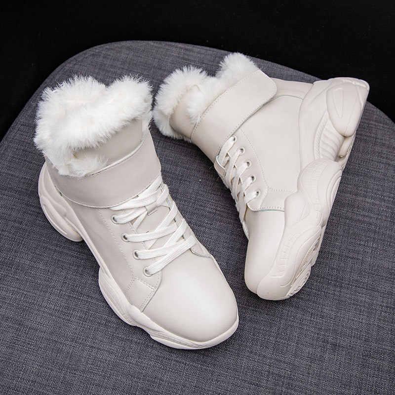 Patent deri kadın kış çizmeler yuvarlak ayak yarım çizmeler kadınlar için yün kadın ayakkabı kare topuk kürk botları kadın