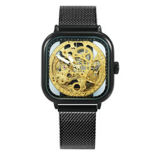 2019 luxury Mens Watches Top Brand Luxury Automatic Blue Wrist Watch MechanicalMen Skeleton Dial Magnet Mesh Strap Hip Hop Clock цена