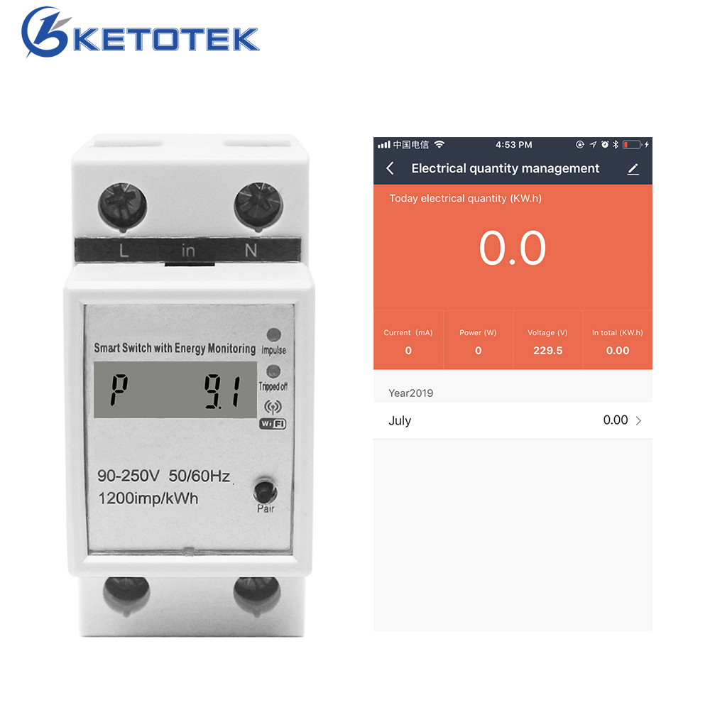WIFI Din Rail AC 90-250V ampèremètre voltmètre énergie compteur monophasé vie intelligente LCD wattmètre tension moniteur de courant
