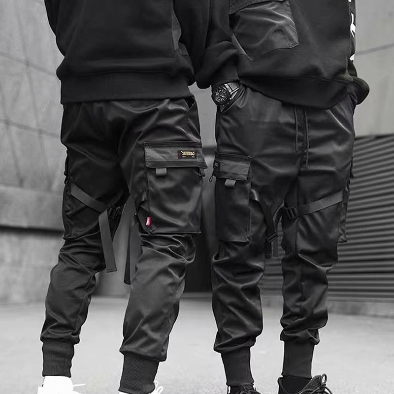 Men Cargo Pants Ribbons Harem Joggers Harajuku Sweatpant Hip Hop Trousers -OPK