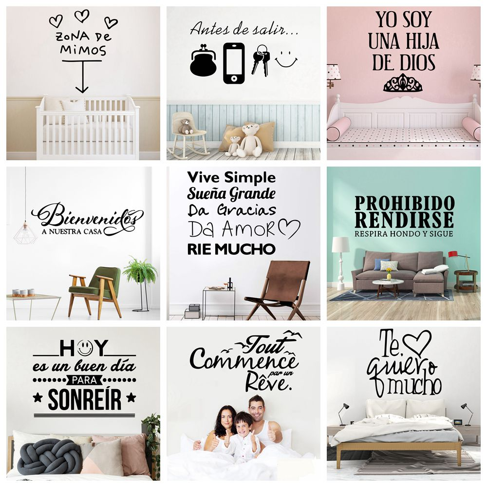 Funny Spanish Sentences Waterproof Wall Stickers Wall Art Decor For Kids Room Living Room Home Decor Wall Art Decal