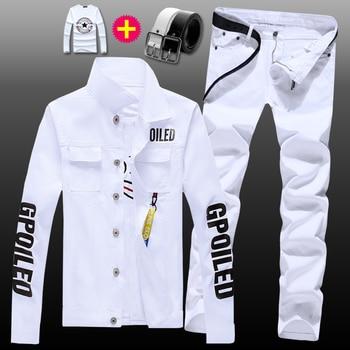 New Mens Denim Jacket Jeans Pants Slim Fit 2pcs Set Boys Casual Letters Printed Coat Trousers With Pendant Candy Color Z5