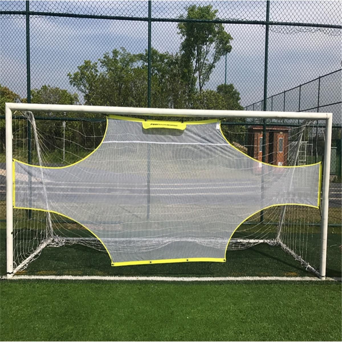 Match Field Portable Practical Soccer Ball Net Yellow White Polyester Goalkeeper Football Gate Outdoor Goal Net Game Goal image
