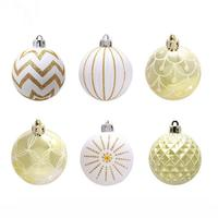 24pcs Christmas Decorations Drums Painted Christmas Ball Christmas Tree Xmas Ornament Supplies New Year Decorative Ball