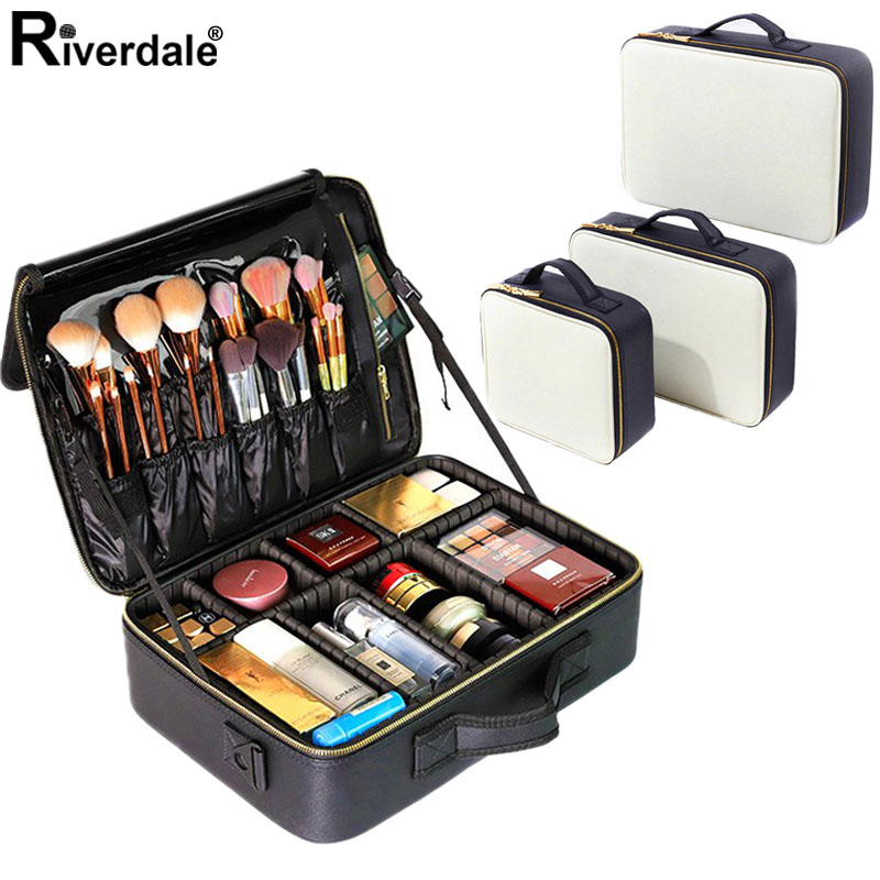 PU Leather Professional Cosmetic Case Brand Cosmetic Storage Box New Travel Makeup Organizer Beauty Nail Tool Suitcase For Women