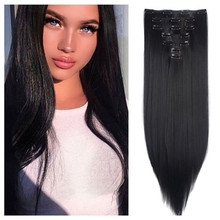 Hair-Extensions Long Straight for Adding-Hair Volume Fluffy Clip-In Synthetic Women