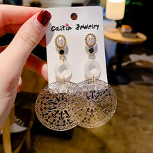 simple fashion  plated geometric big round earrings for women fashion big hollow drop earrings jewelry цена и фото