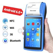 Terminal handheld pda 3g nfc wifi da posição do andróide 6.0 pda da posição com impressora 58mm do recibo da câmera para o mercado móvel do pedido